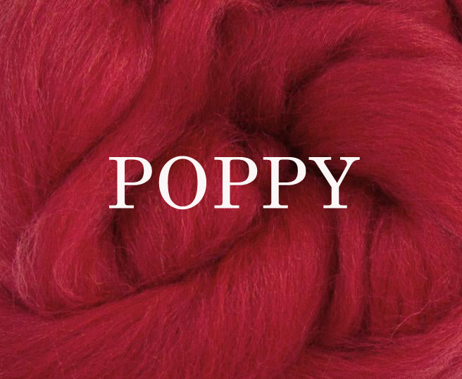 Corriedale combed top POPPY - ONE OUNCE - WAFA LIVE SALE!