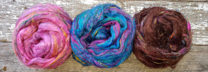 Pulled sari silk sampler bag - 3 ounces total - Carissa