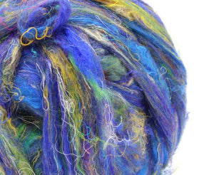 M- Pulled silk roving - WATER LILIES - 1 ounce -