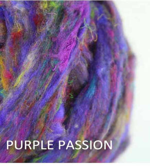 Pulled sari silk roving - PURPLE PASSION  - 1 ounce