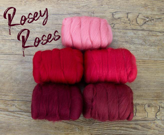 GROUP SALE - ROSEY ROSES  - Fiber jelly beans 23 micron Merino -  1.1 pounds