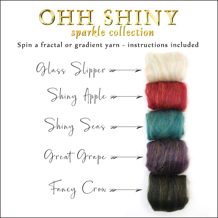 Ohh Shiny Sparkle Collection spinning/carding kit 4.5 ounces
