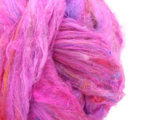 M - Pulled Sari Silk Waste Rovng - COTTON CANDY - 1 ounce