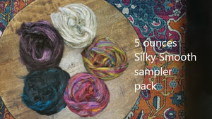 SILKY SMOOTH - Pulled sari silk roving sampler pack - 5 ounces