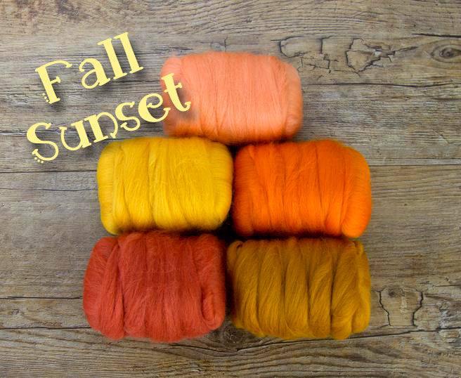GROUP SALE - FALL SUNSET - Fiber jelly beans 23 micron Merino -  1.1 pounds