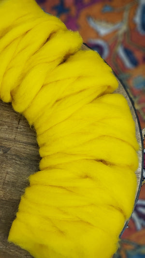 BUTTERCUP- Carded roving (woolen prep)  - 4-ounce pack