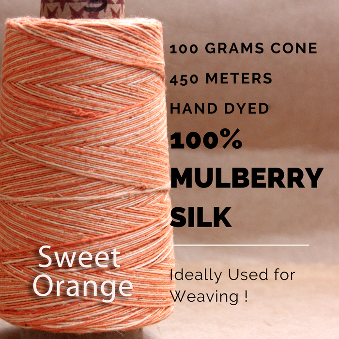 SWEET ORANGE  -  Silk cone yarn - size - 12/2, Bourette silk, weight 3.5 ounces, length 495 yards, ombre style - each