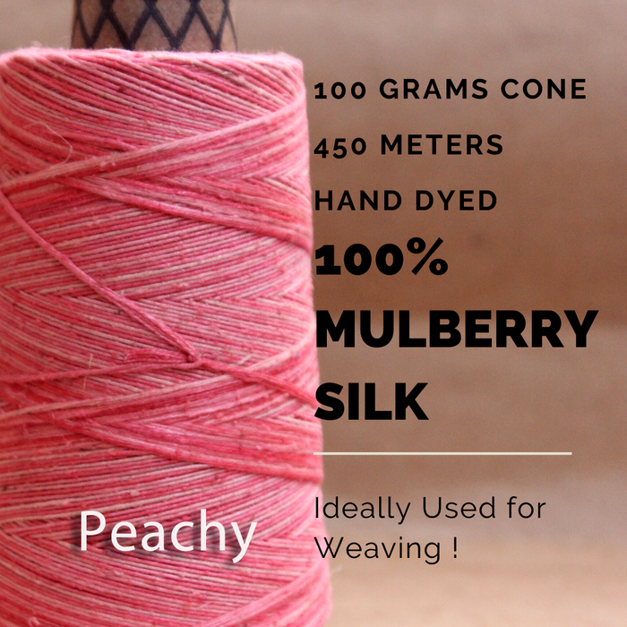 PEACHY  -  Silk cone yarn - size - 12/2, Bourette silk, weight 3.5 ounces, length 495 yards, ombre style - each