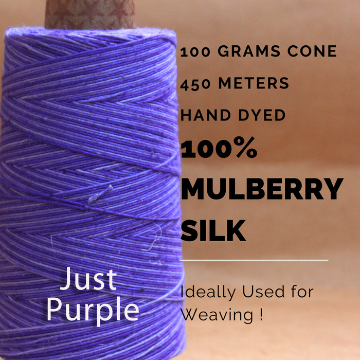 JUST PURPLE  -  Silk cone yarn - size - 12/2, Bourette silk, weight 3.5 ounces, length 495 yards, ombre style - each