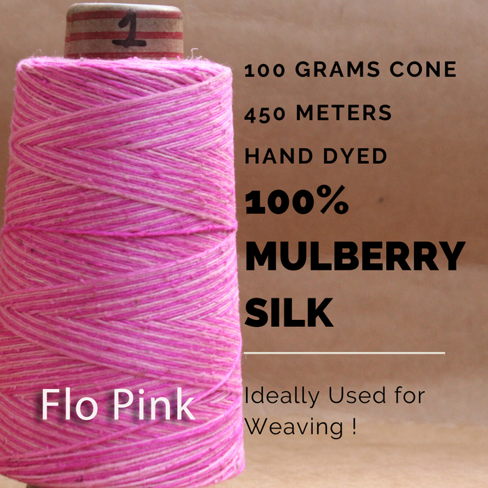 FLO PINK -   Silk cone yarn - size - 12/2, Bourette silk, weight 3.5 ounces, length 495 yards, ombre style - each