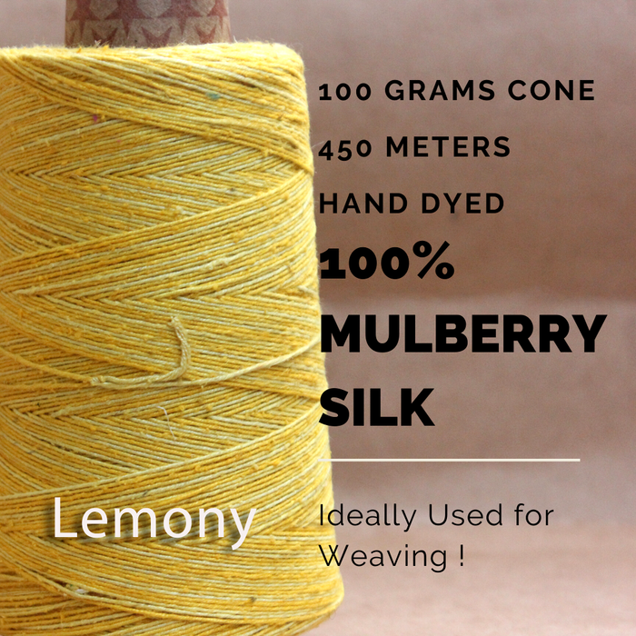 LEMONY - Silk cone yarn - size - 12/2, Bourette silk, weight 3.5 ounces, length 495 yards, ombre style - each