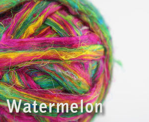 Pulled sari silk roving - WATERMELON - 1 ounce - WAFA LIVE SALE!