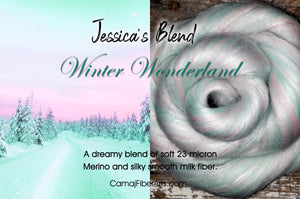 Winter Wonderland - Soft 23 micron Merino/Milk fiber blend.  1 ounce