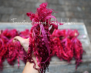PASSION RED  Teeswater hand dyed locks by Lois's Locks.  1/2 ounce bundle.