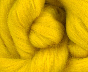 Corriedale combed top YELLOW - 4-ounce pack
