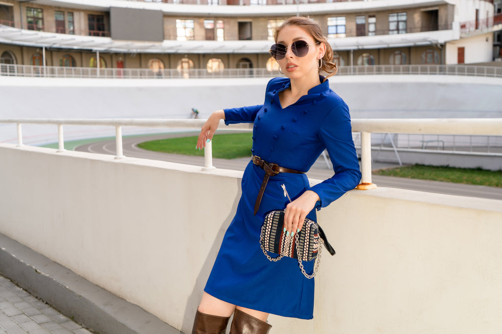 Petite military-style inspired blue dress sold by Short Supply, a petite clothing brand