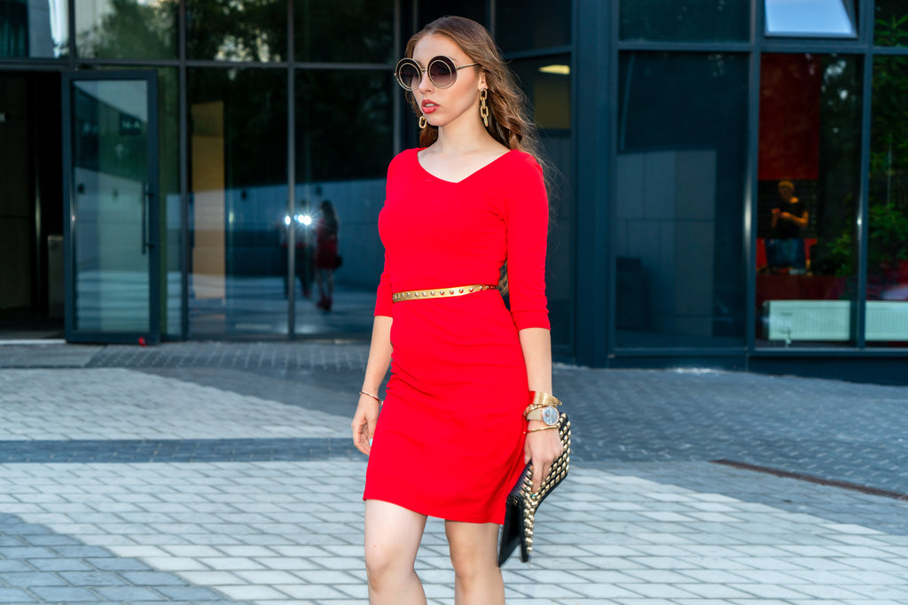 A stylish petite sheath dress in red, sold by petite clothing brand, Short Supply