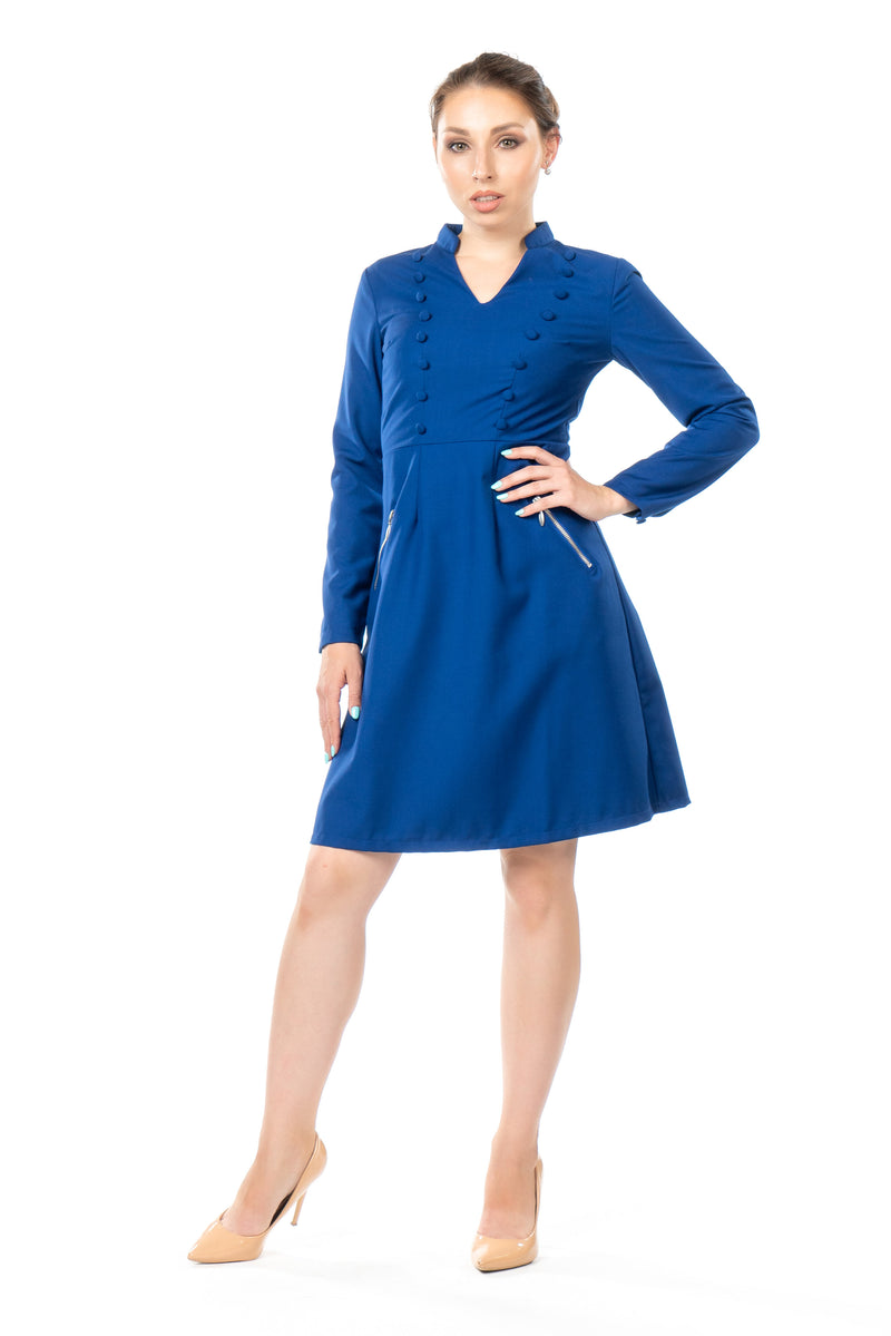 Front view of a petite military-style inspired dress in cobalt blue.