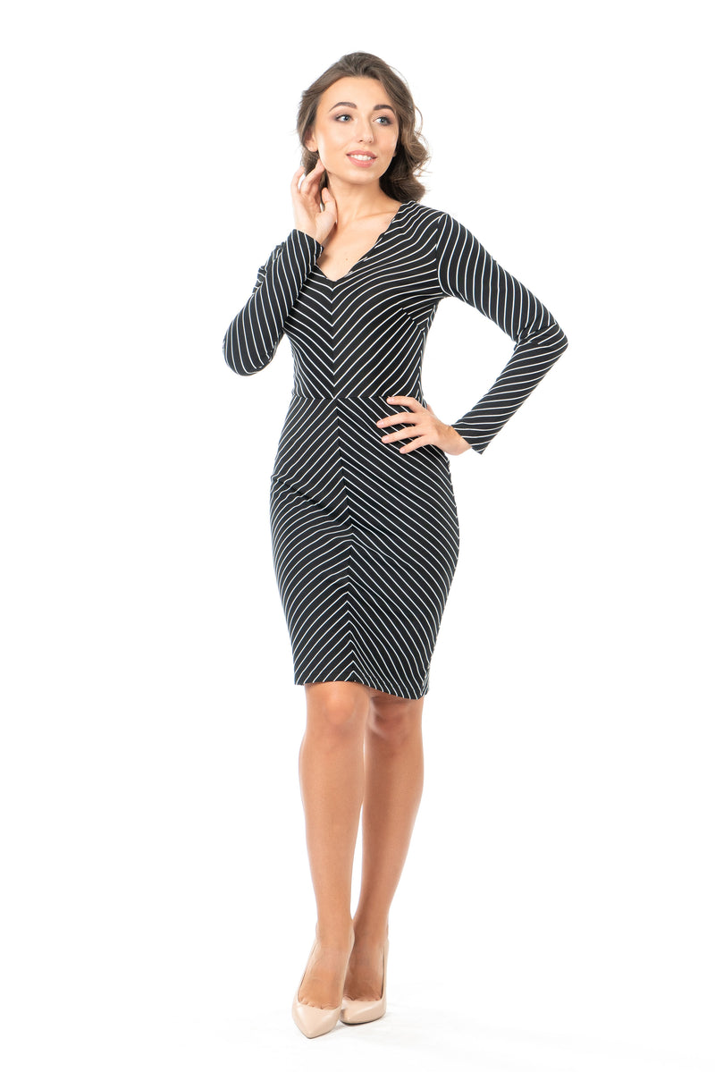 Deven - Petite Chevron Sheath Dress