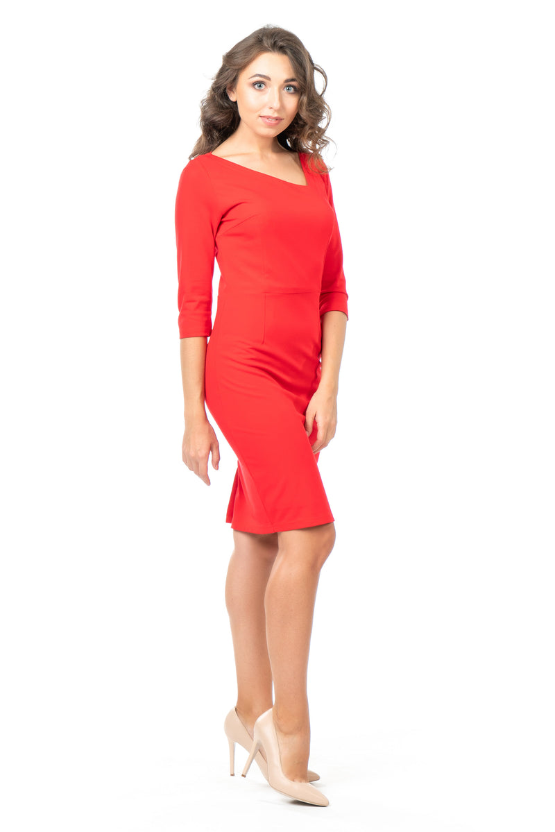 Aliya - Petite Asymmetrical Neck Sheath Dress