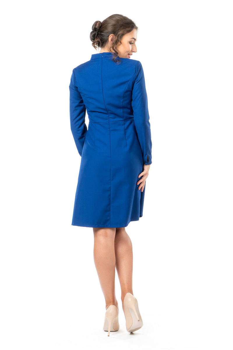 Back view of a petite military-style inspired dress in cobalt blue.
