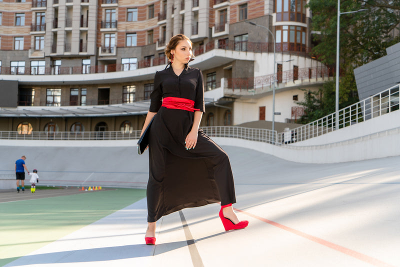 Glamorous Front view of petite maxi dress in black with red belt and red shoes