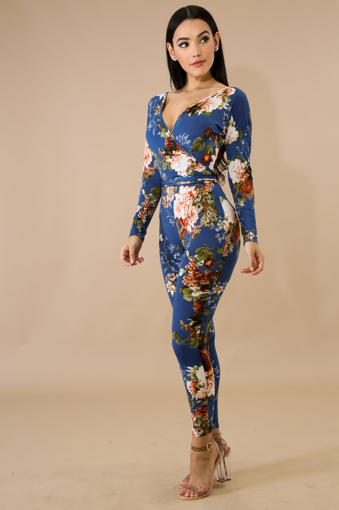 Lauren Floral Surplice Long Sleeve Jumpsuit