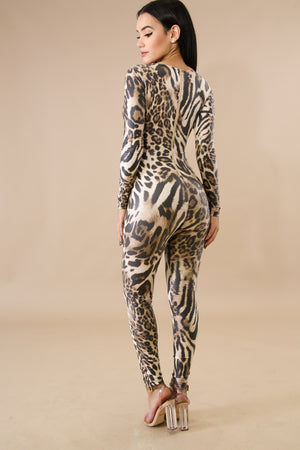 Bailey Leopard Print Open Midriff Long Sleeve Jumpsuit