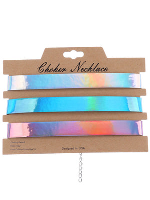 Malinda Iridescent Holographic Choker Necklaces (3pc)