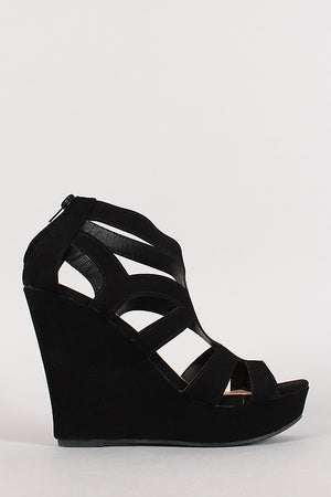 Ella Caged Cut Out Open Toe Platform Wedge