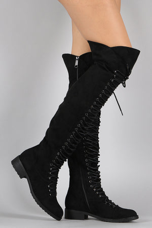 Elizabeth Lace Up Faux Suede Over The Knee Boot