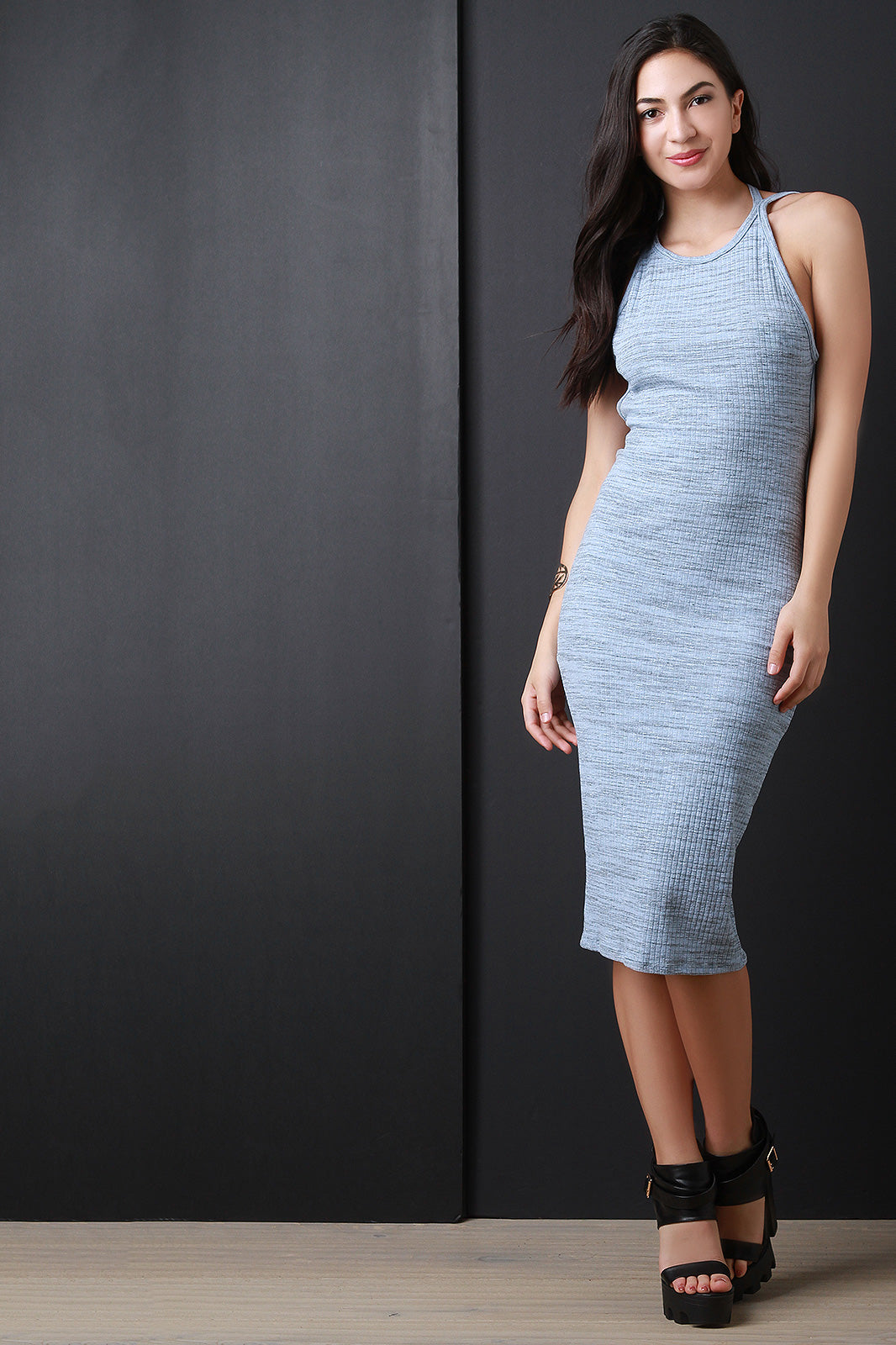 Blue Marled Ribbed Knit Open Back Sleeveless Dress