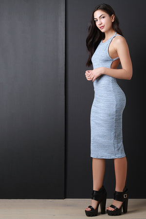 Blue Marled Ribbed Knit Open Back Sleeveless Dress Side View