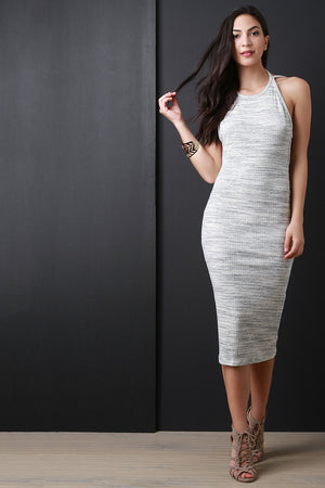 Beige Marled Ribbed Knit Open Back Sleeveless Dress