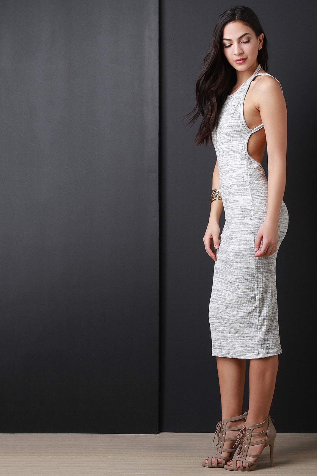 Marled Ribbed Knit Open Back Sleeveless Dress