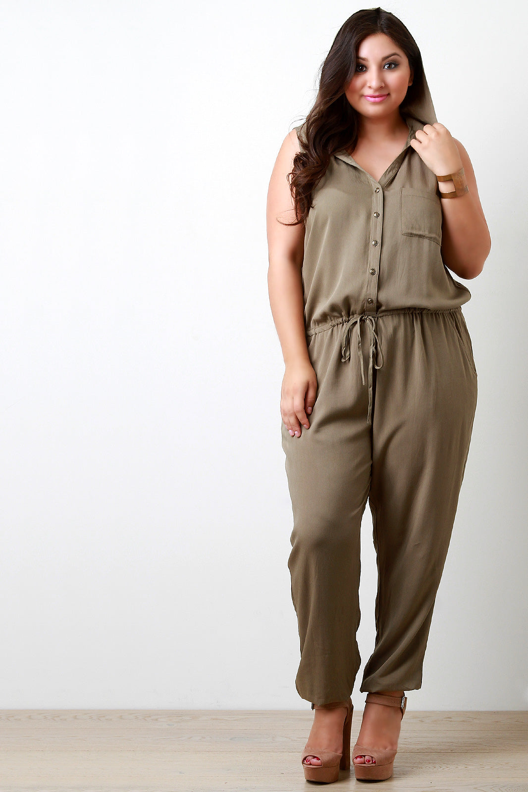 Irina Button Down Pocketed and Hooded Jumpsuit