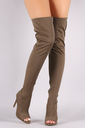 Everly Elastane Open Toe Stiletto Over-The-Knee Boots