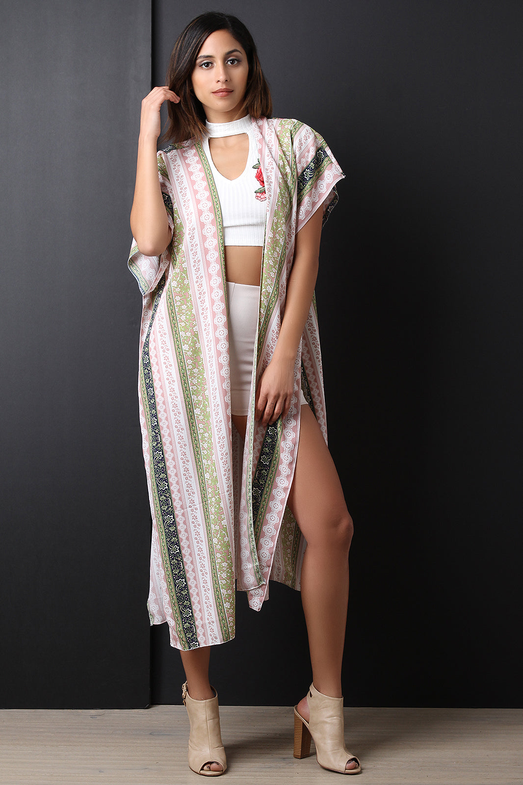 Marlow Floral Stripes Long-line Short Sleeve Kimono