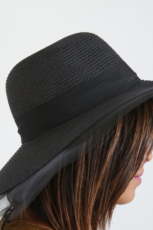 Wendy Wide Brim Mesh Edge Ribbon Straw Sun Hat