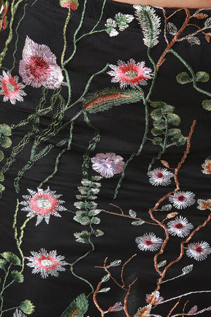 Embroidered Floral Mesh Mini Skirt Close Up