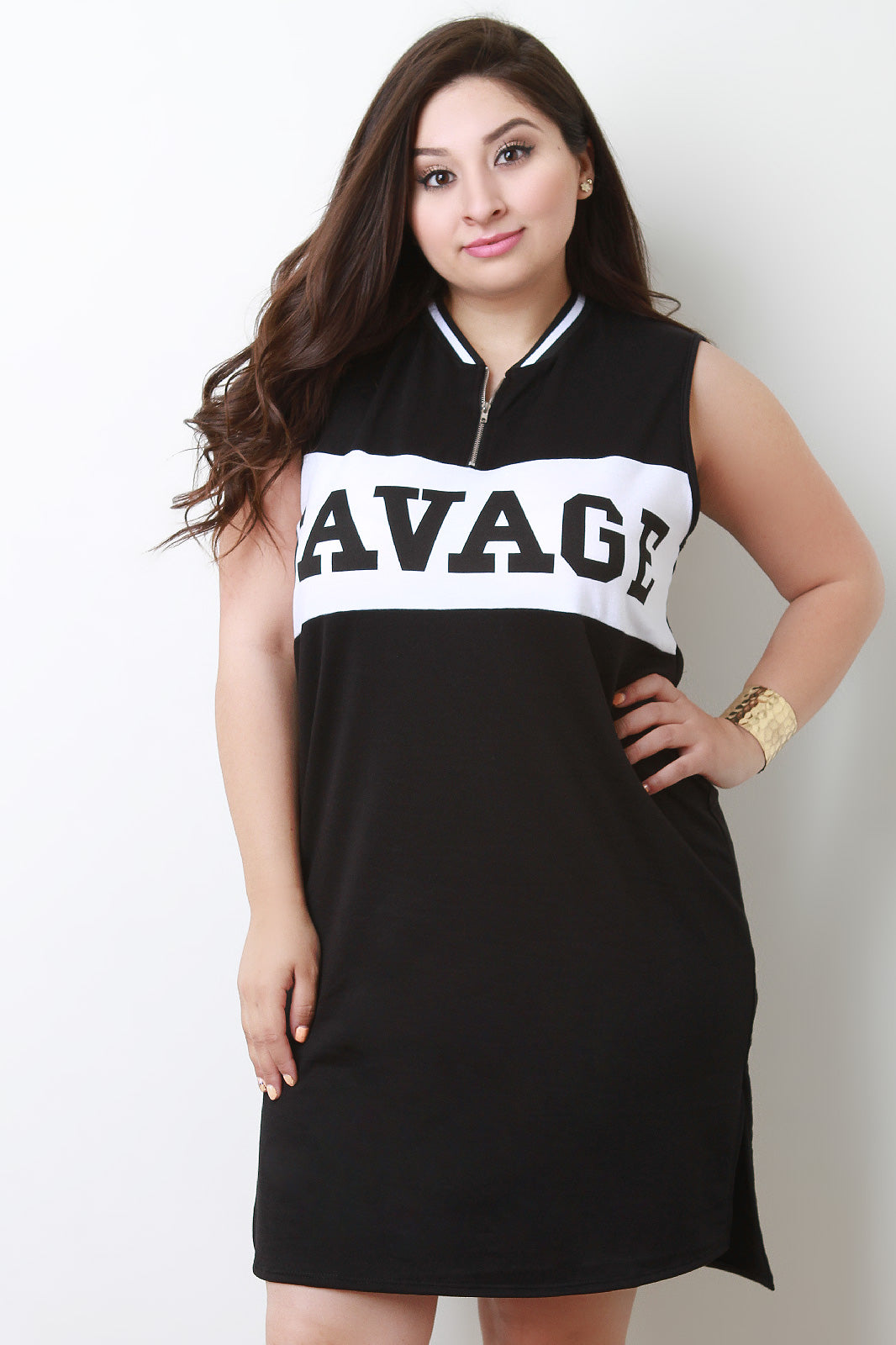 Ivy Savage Zippered Crew Neck Sleeveless Mini Dress