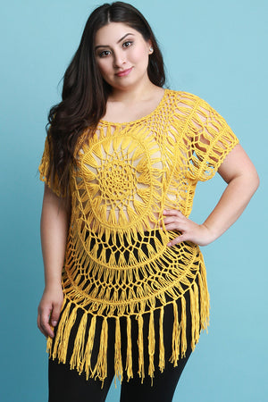Yellow Plus Size Loose Crochet Knit Short Sleeve Fringed Top
