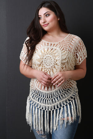 Natural Plus Size Loose Crochet Knit Short Sleeve Fringed Top
