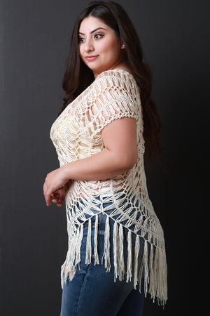 Natural Plus Size Loose Crochet Knit Short Sleeve Fringed Top Side View