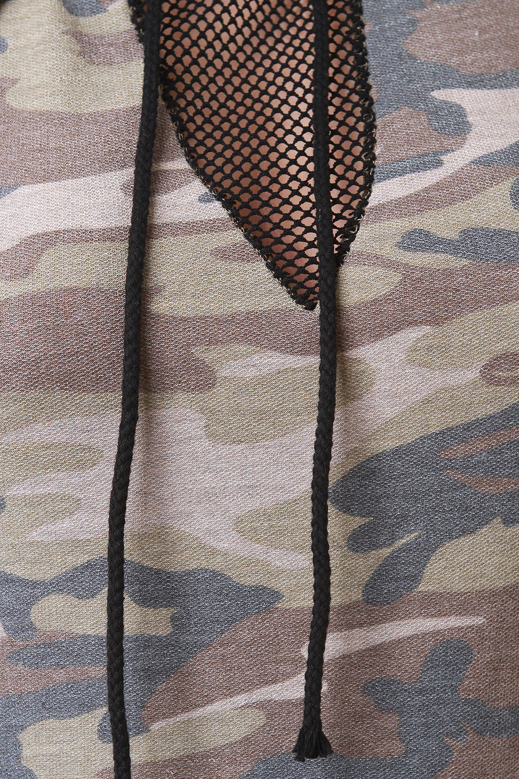 Gwen French Terry Camouflage Fishnet Inset Hoodie Dress