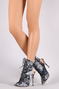 Nora Floral Embroidery Pointy Toe Lace-Up Stiletto Booties