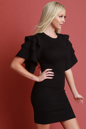 Black Tiered Ruffled Sleeve Ribbed Knit Mini Dress Side View