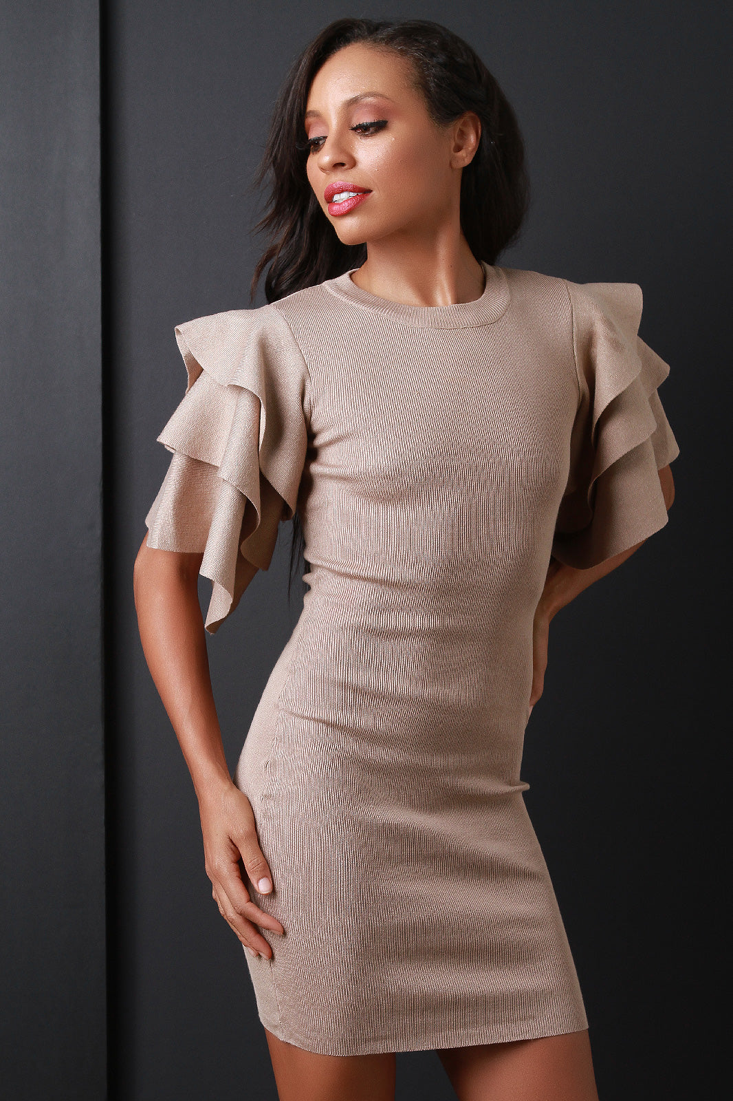Tiered Ruffled Sleeve Ribbed Knit Mini Dress