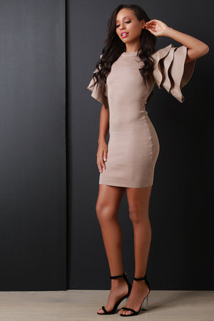 Khaki Tiered Ruffled Sleeve Ribbed Knit Mini Dress