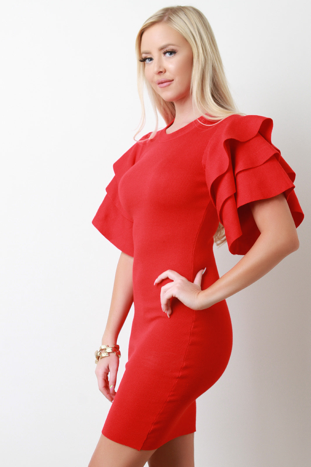 Red Tiered Ruffled Sleeve Ribbed Knit Mini Dress Close up